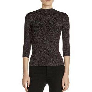 Maje NWT Metallic Ribbed Knit Sweater Top Sz 3 L